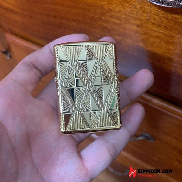 Hộp Quẹt Zippo mạ vàng kim cương khảm đá đỏ 29671-1